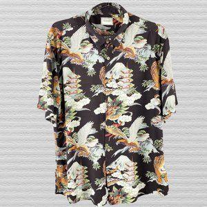 7 Diamonds Dragon Tiger Pagoda Black Shirt Size XL